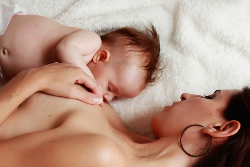 baby breast feeding