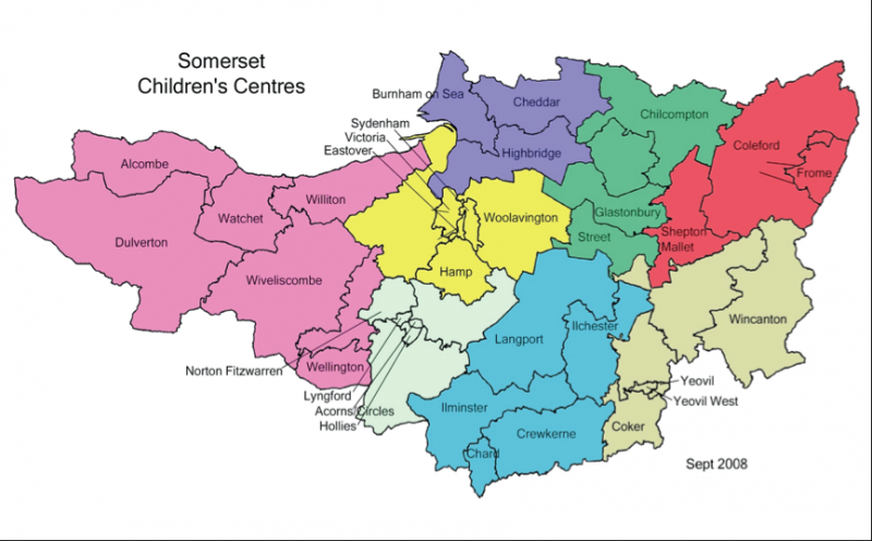 south west map of childrens centres